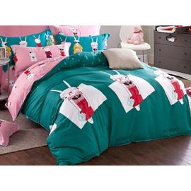Green Rabbit in Red Dress Kids Organic Cotton Duvet Cover Set