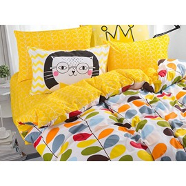 100% Cotton Colorful Leaves Pattern Kids Duvet Cover Set