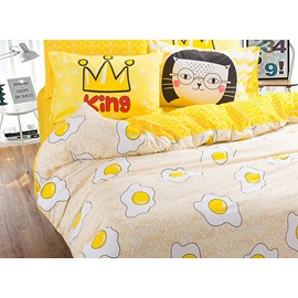 Super Cute Breakfast Eggs Pattern 100% Cotton Kids Duvet Cover Set