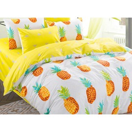 100% Cotton Lovely Pineapple Pattern Kids Duvet Cover Set