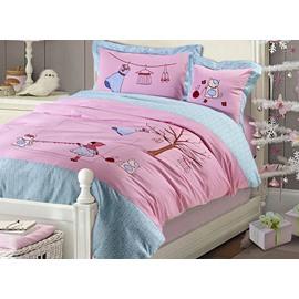 100% Cotton Pink Lovely Girl and Cat Print Kids Duvet Cover Set