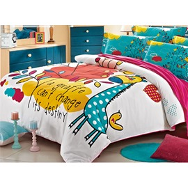 Super Cute Giraffe and Leaves Print Kids 3-Piece Duvet Cover Set