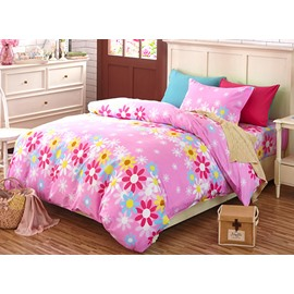 Lovely Pink Flowers Pattern Kids 4-Piece Duvet Cover Set