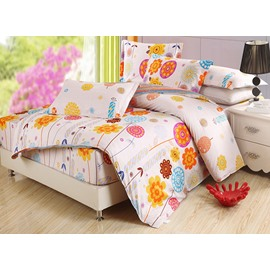 Lovely Colorful Flowers Pattern Kids 4-Piece Duvet Cover Set