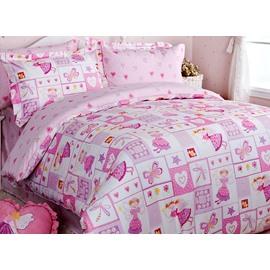 Pink Magic Princess Cotton Girls 3-Piece Duvet Cover Sets