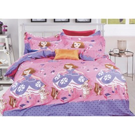 Beautiful Princess Print Kids Cotton 3-Piece Duvet Cover Sets