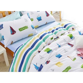 Fresh and Pure Sailing Boats Print 100% Cotton Kids 3-Piece Duvet Cover Sets