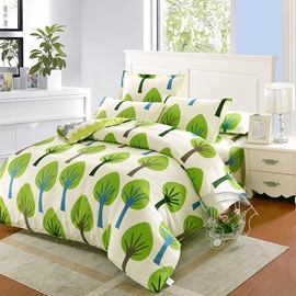 Fashionable Green Tree Pattern Kids 100% Cotton 4-Piece Duvet Cover Sets