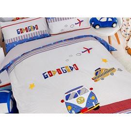 Trendy Bus&Car Print Cotton 3-Piece Kids Duvet Cover Sets