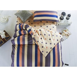 Dark Blue Stripes Pattern Cotton Kids 3-Piece Duvet Cover Sets