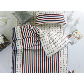Sailing Theme Stripes Pattern Cotton Kids 3-Piece Duvet Cover Sets