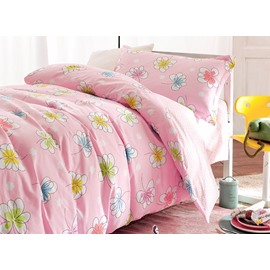 Pink Small Flowers Pattern 3-Piece Purified Cotton Kids Duvet Cover Sets