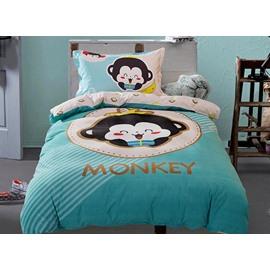 Monkey Baby Print 3-Piece Purified Cotton Kids Duvet Cover Sets