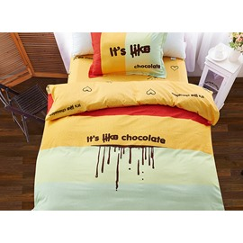 Love Chocolate Color Block 3-Piece Purified Cotton Kids Duvet Cover Sets