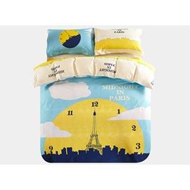 Midnight in Paris Print 3-Piece Purified Cotton Kids Duvet Cover Sets