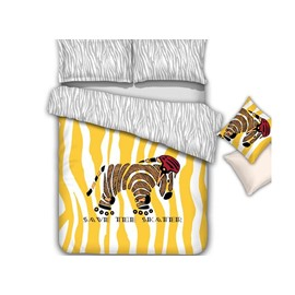 Splendid Cute Cartoon Zebra Pattern 4-Piece Cotton Duvet Cover
