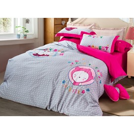 Chic Cartoon Kitty Embroidery Cotton 4-Piece Duvet Cover Sets