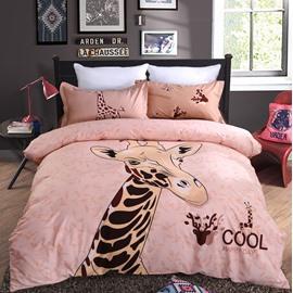 Lovely Giraffe Printing 4-Piece Duvet Cover Sets