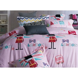 Pink Cartoon Printing 4-Piece Duvet Cover Sets