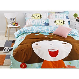 New Arrival Cute Cartoon Girl Print 4-Piece Duvet Cover Sets