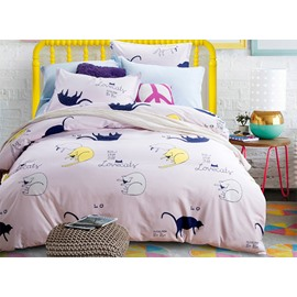 Lovely Cats Pattern 4-Piece Cotton Duvet Cover Sets