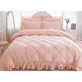 Pinch Pleat Cotton Princess Style 4-Piece Pink Duvet Covers/Bedding Sets