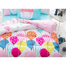 Balloon Pattern Cotton Princess Style 4-Piece Pink Kids Duvet Covers/Bedding Sets