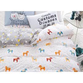 Tiny Horse Little Star Reversible 4-Piece Cotton Kids Duvet Cover Sets