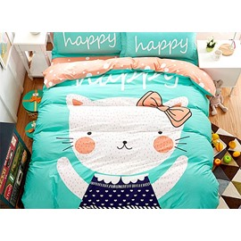 Happay Cat with Green Background Print 4-Piece Cotton Duvet Cover Sets