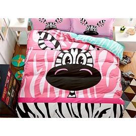 Lovely Little Zebra Print 4-Piece Cotton Duvet Cover Sets