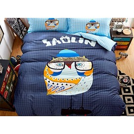 Owl with Glasses Print 4-Piece Cotton Duvet Cover Sets