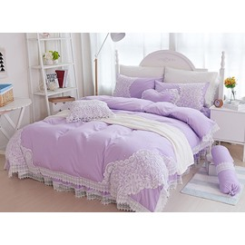 Noble Purple Beautiful Lace Embellishment 4-Piece Cotton Duvet Cover Sets