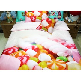 Bright Colorful Candy Print 3-piece Kids Cotton Duvet Cover Sets