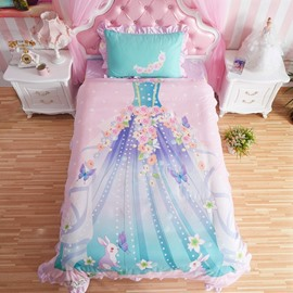 Lovely Magic Fairy Dress Pattern Kids Cotton 4-Piece Duvet Cover Sets