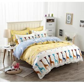 Giraffe Pattern Kids Cotton 4-Piece Duvet Cover Sets