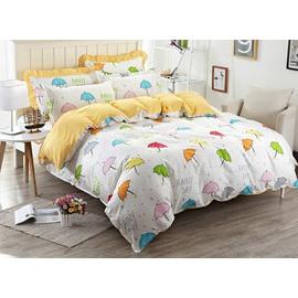 Multicolor Umbrella Pattern Kids Cotton 4-Piece Duvet Cover Sets