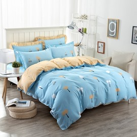 Trees Pattern Light Blue Kids Cotton 4-Piece Duvet Cover Sets