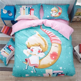Angel sit on Moon Pattern Kids Cotton 4-Piece Duvet Cover Sets