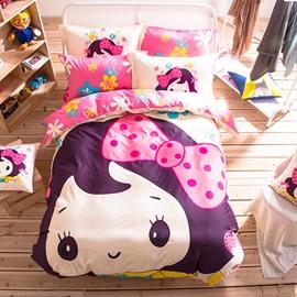 Lovely Princess Pattern Light Blue Kids Cotton 4-Piece Duvet Cover Sets