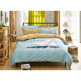 Sailing Pattern Light Blue Kids Cotton 4-Piece Duvet Cover Sets