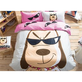 Cool Dog Pattern Kids Cotton 4-Piece Duvet Cover Sets