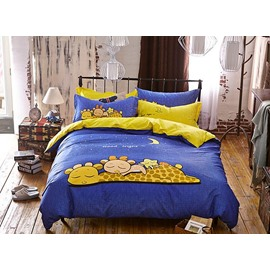Sleeping Giraffe Pattern Kids Cotton 4-Piece Duvet Cover Sets