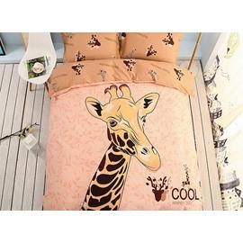 Cool Giraffe Pattern Kids Cotton 4-Piece Duvet Cover Sets