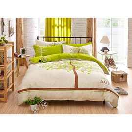 Green Tree Pattern Kids Cotton 4-Piece Duvet Cover Sets