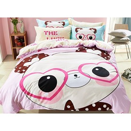Panda Pattern Cotton Cute Style 4-Piece Pink Duvet Covers/Bedding Sets