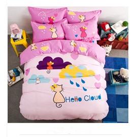 Rainy and Cat Pattern Kids Cotton 4-Piece Duvet Cover Sets