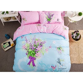 Butterfly Flowers Pattern Light Blue Kids Cotton 4-Piece Duvet Cover Sets