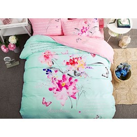 Butterfly Flowers Pattern Mint Green Kids Cotton 4-Piece Duvet Cover Sets