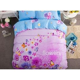 Butterfly Pattern Cotton Pastoral Full Size 4-Piece Purple Duvet Covers/Bedding Sets
