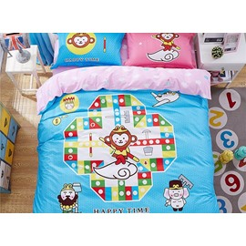 Cartoon Westward Journey Pattern Kids Cotton 4-Piece Duvet Cover Sets